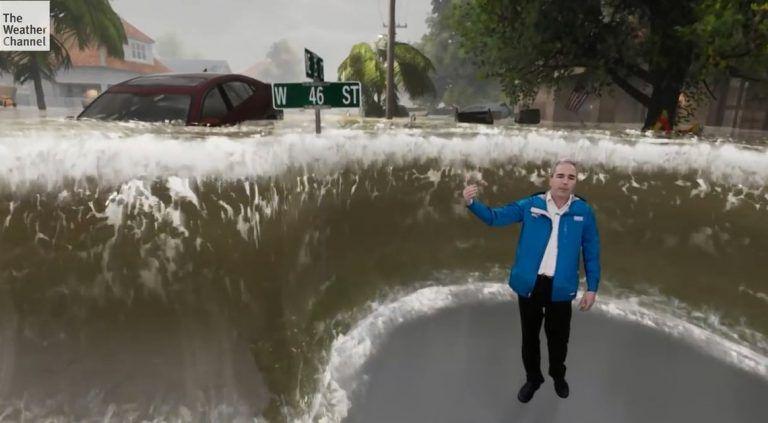 Sila hurikánu Florence vyobrazená pomocou rozšírenej reality